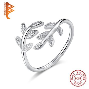 BELAWANG Authentic Real 925 Sterling Silver Tropical Palm Feather Leaf Finger Ring for Women Engagement Ancient Silver Jewelry