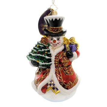 Christopher Radko FANCY FROSTY Glass Ornament Snowman Tree 1016594