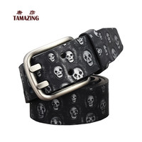 female fashion Skull head belt classice double pin buckle designer belts causal brand belts for women