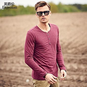 Enjeolon Brand Men Long sleeve casual T Shirts 4 color solid V neck cotton Man T-Shirts plus size S 3XL Slim Tops Tee RST8906-1