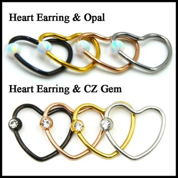 1PC 316l Steel&Opal Colorful CZ Crystal Daith Heart Captive Bead Ring Ear Helix Tragus Cartilage Lip Ring Piercing Nose Stud 16g