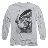 Alien Men's  Decapitated Long Sleeve Silver