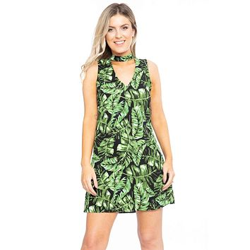 Womens Fashion Dresses Hawaiian Leaf Print, Sleeveless, A-line Dress