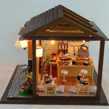 Miniature Dollhouse  DIY Kit Sakura Sushi Shop with Light and Music Box Cute Room House Model