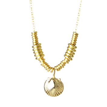 Gold Sea Shell Heishi Layering Necklace