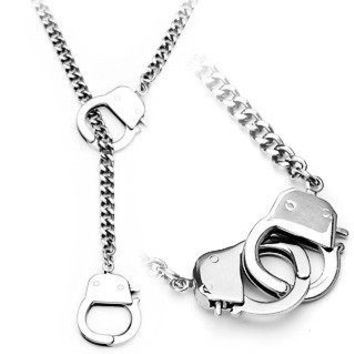 Under Arrest Necklace - Fun novelty silver stainless steel handcuff design necklace