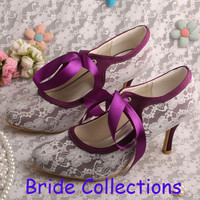 """New Color Round Toe Mary Janes Ribbon 3"""" Stiletto Heel Black Lace Purple Satin Women Prom Shoes"""