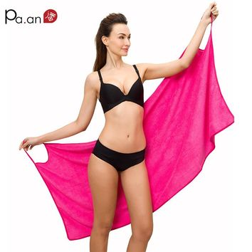 Hot Sexy Bath Towel Upgrade Size Strap Bathrobe Wearable Beach Towels Microfiber Fabric Super Soft Absorbent Multi Colors