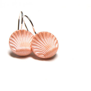 "Pink Shell Earrings, Pastel Seashell Drops, Small Blush Sea Shell Jewelry, Peach Dangle Buttons, Nickel Free - ""Soft as the Shoreline"""