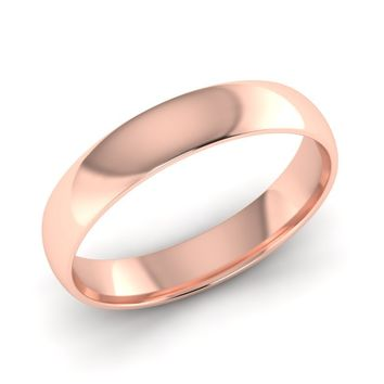 Classic Mens or Womens Rose Gold Wedding Band, 4.00mm Wide