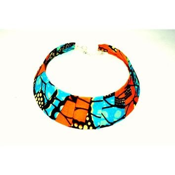 Orange And Blue African Wax Print BIB Trendy Necklace