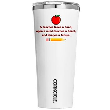 Corkcicle A Teacher Takes a Hand with Apple on White 24 oz Tumbler Cup
