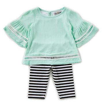 Rare Editions Baby Girls 12-24 Months Gauze Trimmed Top & Striped Leggings Set | Dillards