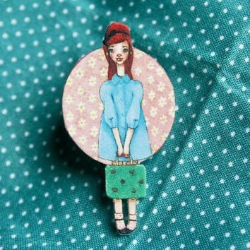 SALE 50s Suitcase Girl Shrink Plastic Pin Brooch by dannybrito