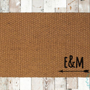 Custom Couple's Initials Coir Doormat, Decorative Area Rug, Hand Painted Hand Woven, Housewarming Gift