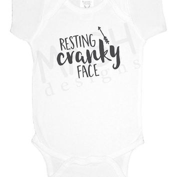 Resting Cranky Face baby one piece, newborn, new baby, funny baby shower gift, arrow, dark gray, grey, gift under 20, gift under 15