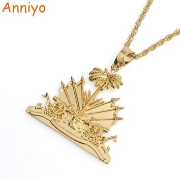 ONETOW Anniyo Haiti Pendant and Necklace for Women/Girls,Ayiti Items Silver/Gold Color Jewelry Gifts of Haiti #068506