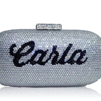 Custom Name Personalized Crystal Box Evening Clutch Bag