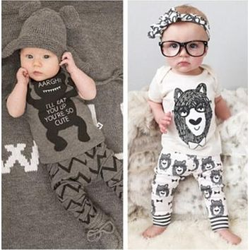 Children's clothing baby clothing set boy little monsters short sleeve Boys Clothes