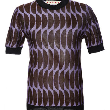 Short Sleeve Intarsia Sweater