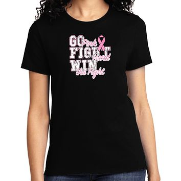 Ladies Breast Cancer T-shirt Go Fight Win Tee