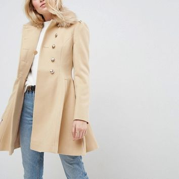 ASOS Skater Coat with Faux Fur Collar and Button Detail at asos.com