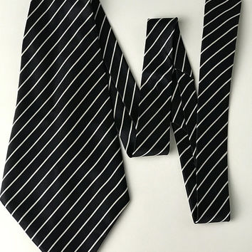 ESCADA by MARGARETHA LEY Designer Necktie / 1940s Style Retro Wide Zoot Suit Tie / Black with White Pinstripes / Men's Italian Silk Necktie