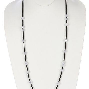 Black Pearl Faux Suede Long Necklace