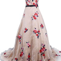 Dressystar Sweetheart Long Evening Dress Embroidery Chinese Traditional Flowers Christmas Dress With Train