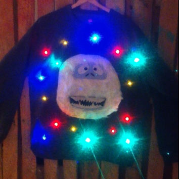 Light-up ugly Christmas sweater! - Abominable Snowman