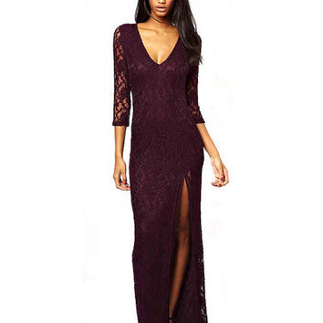 Purple V Neck Lace Maxi Dress With Split