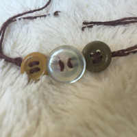 Mustard, Olive, and Clear Button Bracelet