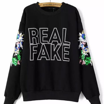 Graphic Print Long Sleeve Sequined Sweatshirts