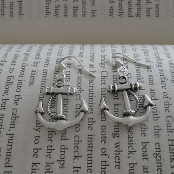 Silver Nautical Anchor Earrings - Sailor - Nautical Gift