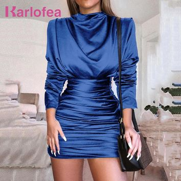 Karlofea Women Winter Solid Color Pleated Dress Black Blue Rose Office Lady Outfits Wear Dress Long Sleeve Club Party Wrap Dress