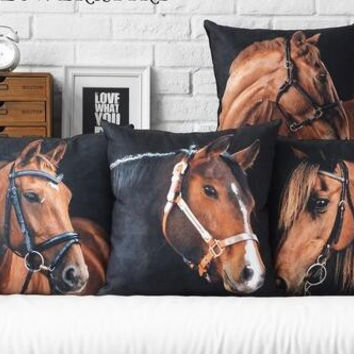 Contemporary and contracted creative black horse stuffed animals hold pillowcase cushion for leaning on of 45 * 45CM