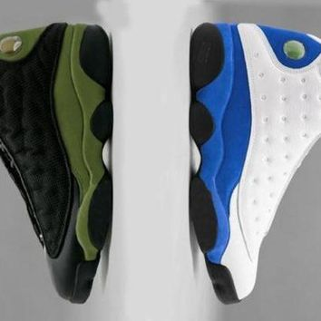 Original 2018 New Air Jordan retro 13 shoe Olive Black Mens basketball shoes Hyper Royal Blue retros 13s Men womens sports Outdo