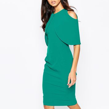 Vesper Overlay Midi Dress with Cold Shoulders