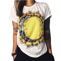 Print Letter Sun Flower T-Shirt Floral Ladies Graphic Tees Tops Fashion Summer Style Punk Rave Tshirts Cotton Women Clothing