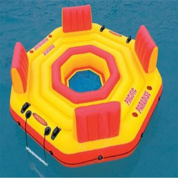 254*61CM Inflatable lounge Chair Water Floating Bed Inflatable Floating Row Air Mattresses with Electric air pump