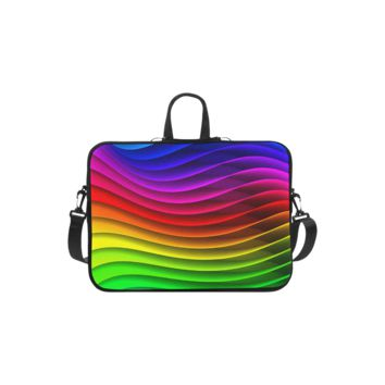 Personalized Laptop Shoulder Bag Glossy Rainbow Stripes Macbook Air 11 Inch