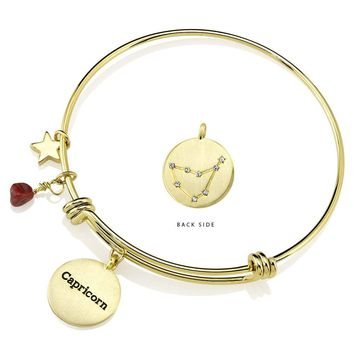 Gold Plated Yellow Brass Constellation Birthstone  Horoscope Bangle