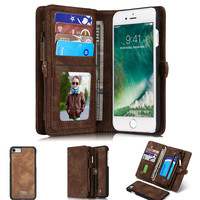 Caseme Luxury Flip Leather Case For iPhone 7 7 Plus 6 6s Plus Card Slots Wallet Magnet Removable Phone Cover Fundas Accessories