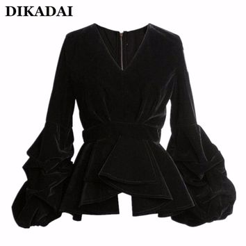 Women Sexy Puff Sleeve Blouse Shirts Black Velour Casual Ruffle Wrap Tops with Zipper S M L 2017 Fall Fashion Velvet Clothing