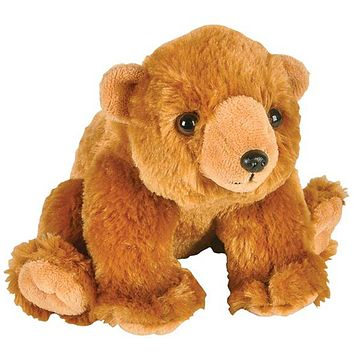 8 Inch Grizzly Bear Stuffed Animal Plush Floppy Brown Bear Zoo Species Collection