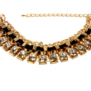 """Look At Me"" Gold And Diamond Chunky Statement Bracelet"