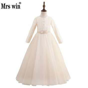 2018 New Flower Girl Dresses Elegant Long Sleeve Lace Embroidery Floor Length Princess Ball Gown Evening Gowns For Girls X
