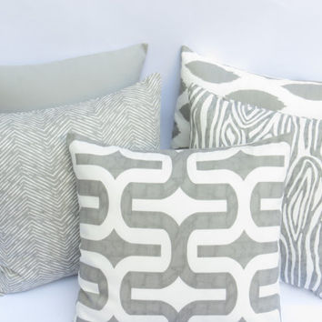 One Grey Pillow Cover: Mix and Match fits an 18x18 inch pillow Decorative grey pillow Grey Throw Pillow