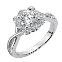 """Artcarved """"Monica"""" Diamond Halo Engagement Ring Featuring a Twisted Polished Band and Flower-like Halo including 0.08 Carats Diamonds"""