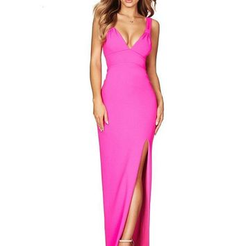 Selina Maxi High Slit Dress in 4 Colors